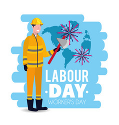 Man firefighter with uniform to labour day vector