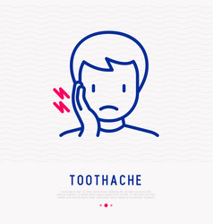 man with toothache thin line icon vector image