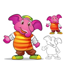 mascot elephane cartoon vector image