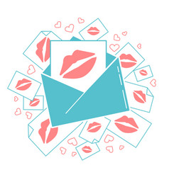 Messages of love envelope with kisses vector