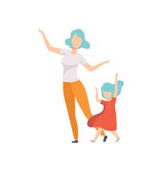 Mom and daughter dancing and having fun vector