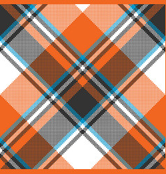 Orange check plaid seamless fabric texture vector