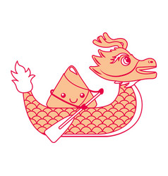 Orange dragon rice dumpling paddling festiva vector