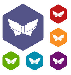 Origami butterfly icons hexahedron vector