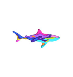 paper cut shark shape 3d origami vector image