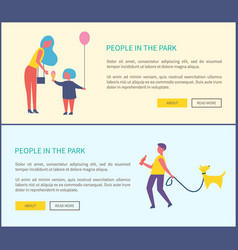 people in park man walking dog mother and child vector image
