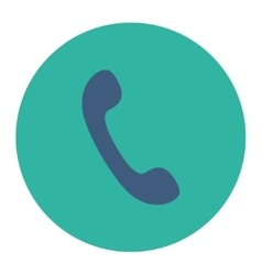 Phone flat cobalt and cyan colors round button vector