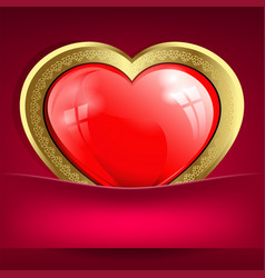 Pink design with a red heart with a gold border in vector