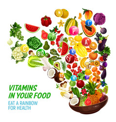 Rainbow color diet vitamin in healthy organic food vector