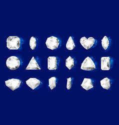 realistic diamonds realistic jewel stones vector image