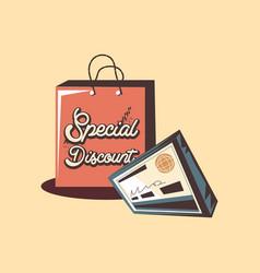Retro shopping bag special discount bank check vector