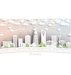 Riyadh saudi arabia city skyline in paper cut vector