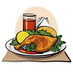 roasted chicken drumstick vector image