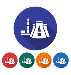 round icon of thermal power plant flat style with vector image