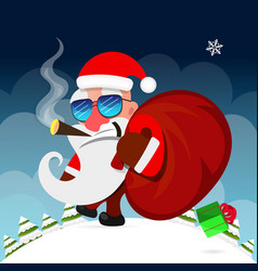 santa claus pulls a heavy bag full of gifts on vector image