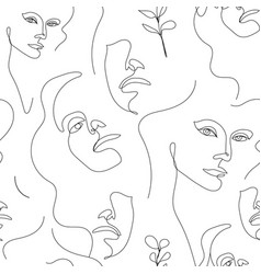 seamless pattern continuous line art vector image