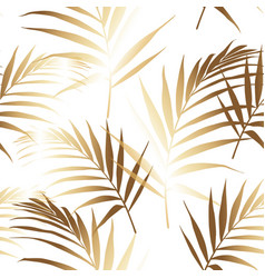 seamless pattern with golden palm leaves vector image