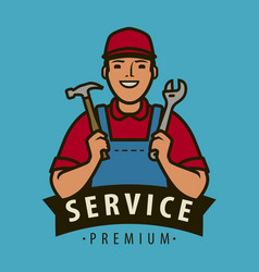 service repair logo builder with tools in hands vector image