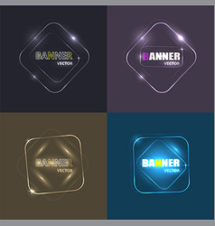 set glowing neon banners for design vector image