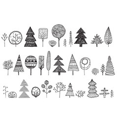 set hand drawn doodle trees vector image