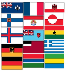 Set of 15 flags of countries started with F and G vector