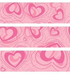 set of banners with hearts vector image