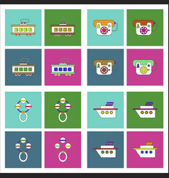 Set of kids toys in flet icons on color vector