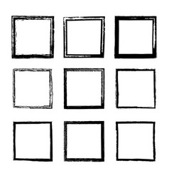 set of square frames drawn by ink brushes vector image