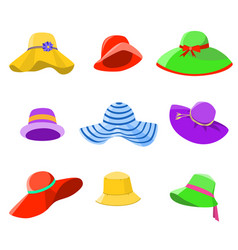 set of summer hats women vector image