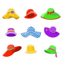 Set summer hats women vector