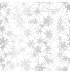 silver christmas snowflakes net seamless pattern vector image