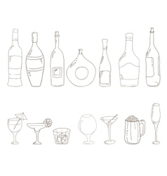 Sketch of wine bottles vector image