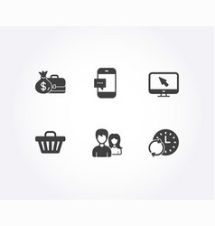 Smartphone message couple and shop cart icons vector