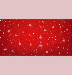 snowy red background with falling snowflakes vector image