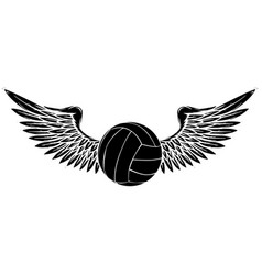 sports volleyball emblem black silhouette design vector image