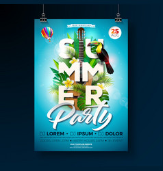 Summer beach party flyer design with vector