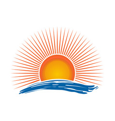 Sun over the sea vector