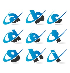 Swoosh Small Letters Logo Icons Set 1 vector image