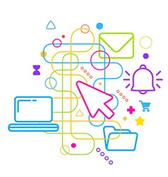 Symbols of office work on abstract colorful light vector