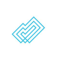 three check line outline logo icon vector image