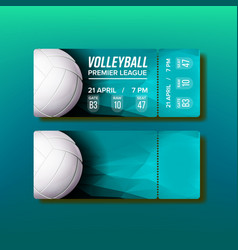 Ticket tear-off coupon on volleyball match vector