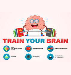 Train your brain infographic brain vector