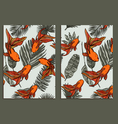 trendy background tropical leaves and fishes set vector image