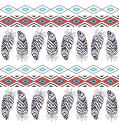 Tribal Boho Seamless Pattern with Feather vector