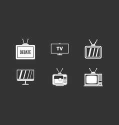 tv icon set grey vector image