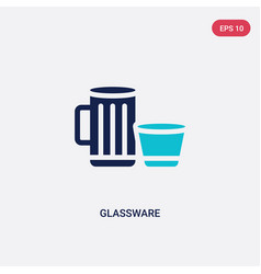 Two color glassware icon from furniture and vector
