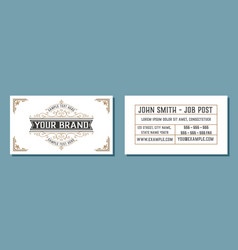 Vintage business card with floral ornaments vector