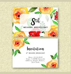 watercolor floral wedding anniversary invitation vector image