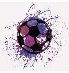 With watercolor soccer ball and splash vector