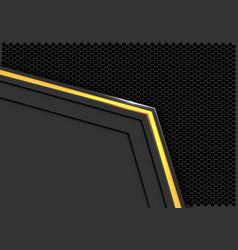 Yellow light neon arrow on grey hexagon mesh vector